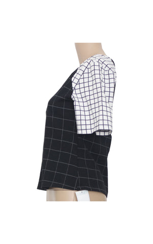 Monochrome Chequered Crop Top [Size M]