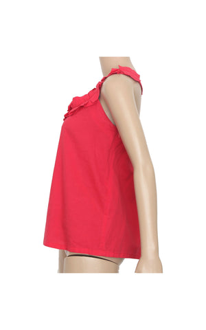 Red Sleeveless with Frills Details [Size L]