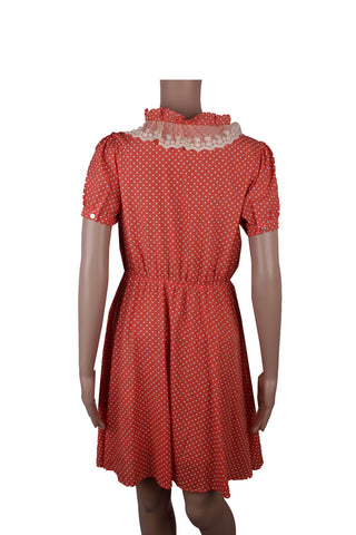 iora Peach Shirt Dress with Lace Frills [M]