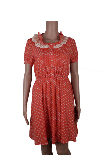 iora Peach Shirt Dress with Lace Frills [M] - VOWS Malaysia