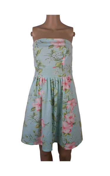 Floral Blue Tube Dress with Back Tie [Size XL] - VOWS Malaysia