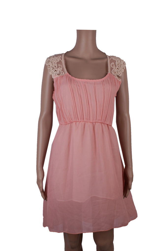 MISC Pink Mini Dress with Lace Details [S]