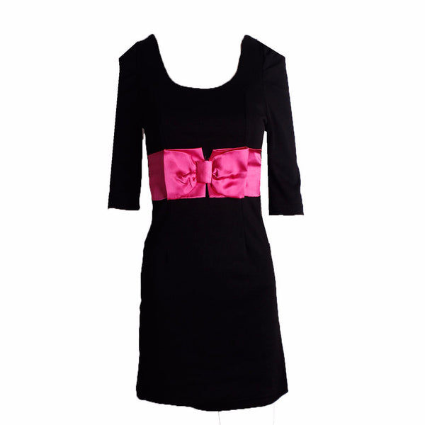 MISC Black Mini Dress with Pink Bow Details [S] - VOWS Malaysia
