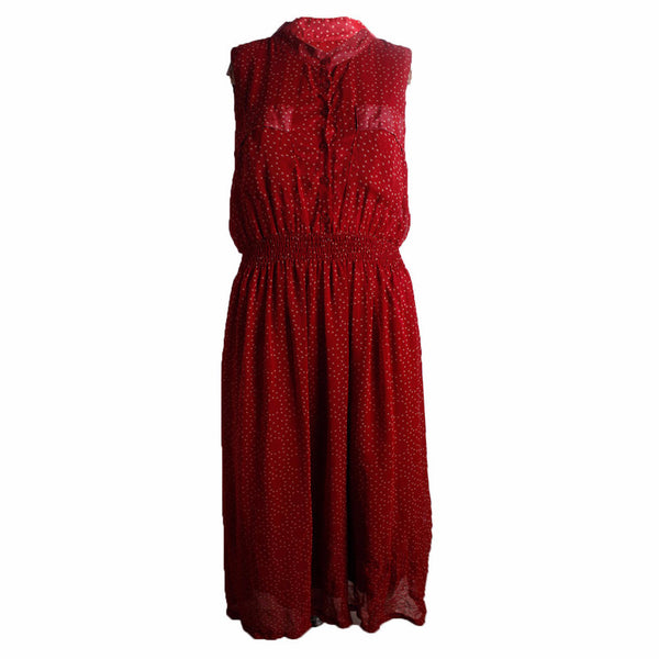 MISC Red Maxi Shirt Dress with White Polka Dots [L] - VOWS Malaysia