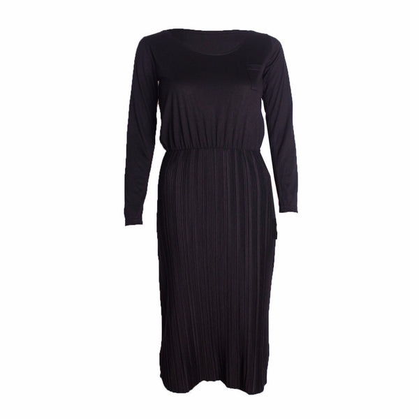 MISC Plain Black Midi Dress Size [M] - VOWS Malaysia