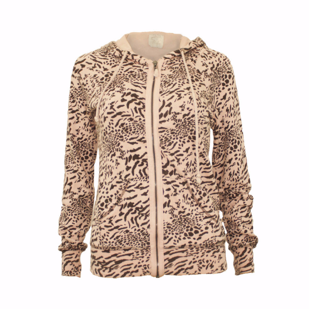 INDITEX Leopard Zipped Hoodie - Size [S] - VOWS Malaysia