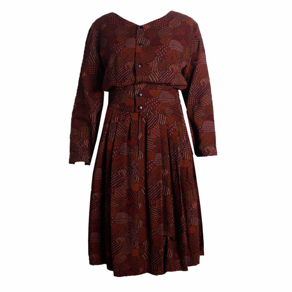 MISC Long Sleeve Brown Midi Dress Size [L]