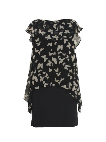 Butterfly Print Layered Mini Dress - Size [S] - VOWS Malaysia