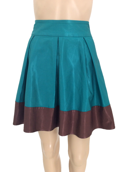 H&M Turquoise Skater Mini Skirt with Brown Edge Size [US 6 - EUR 36] - VOWS Malaysia