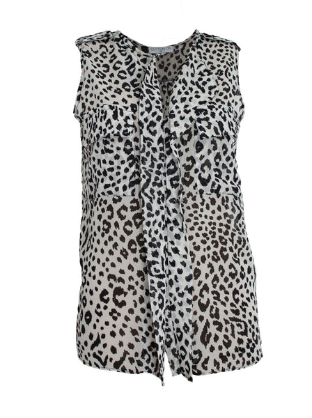 Cotton On Leopard Sleeveless Blouse With Front Ruffles - Size [XS] - VOWS Malaysia
