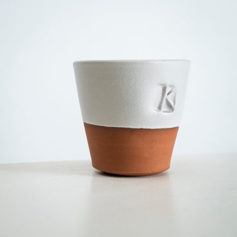 Oval 'K' terracotta beakers