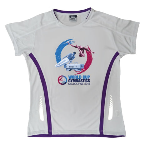 GWC 2018 Ladies Tech T-Shirt (White/Purple)