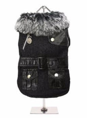 Black Fabric Coat with Fur Collar & Leather Belt - Coat - Urban Pup - High Society Canine LLC - 1