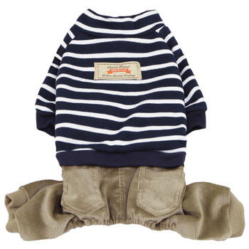 Striped Top with Corduroy Pants Dog Jumpsuit - Navy-Dobaz,Parisian Pet-High Society Canine