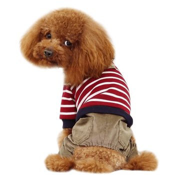 Striped Top with Corduroy Pants Dog Jumpsuit - Red-Dobaz,Parisian Pet-High Society Canine