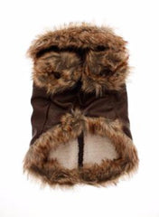 Brown Leather Fur Trimmed Flying Jacket (Coat) - Coat - Urban Pup - High Society Canine LLC - 2