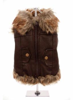Clearance - Brown Leather Fur Trimmed Flying Jacket-High Society Canine-High Society Canine