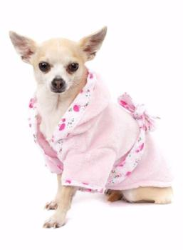 Clearance - Pink Plush & Fluffy Terry Bathrobe-High Society Canine-High Society Canine