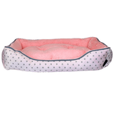 Pastel Polka Dot Plush Dog Bed - Pink-Parisian Pet-High Society Canine