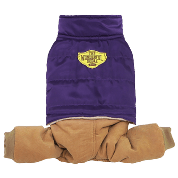 Puffer Jacket with Corduroy Pants Dog Jumpsuit - Purple-Dobaz,Parisian Pet-High Society Canine