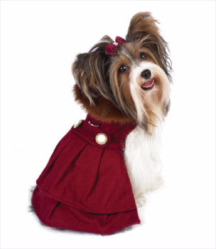Clearance - Burgundy Wool with Fur Collar Harness Coat-High Society Canine-High Society Canine