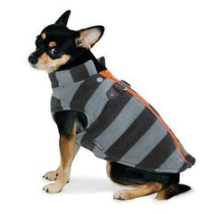Active Fleece D-Ring Striped Dog Coat by Dogo - Gray