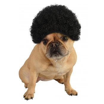 Afro Wig Dog Costume - Black-Rubies Costumes-High Society Canine