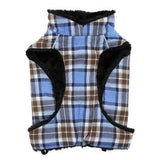 Alpine Flannel Dog Coat - Brown and Blue Plaid-Doggie Design-High Society Canine