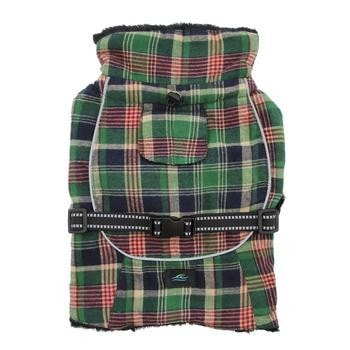 Alpine Flannel Dog Coat - Flannel Hunter Green and Navy Blue Plaid