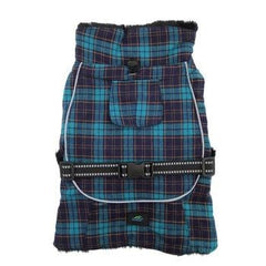 Alpine Flannel Dog Coat - Navy Blue and Turquoise Plaid
