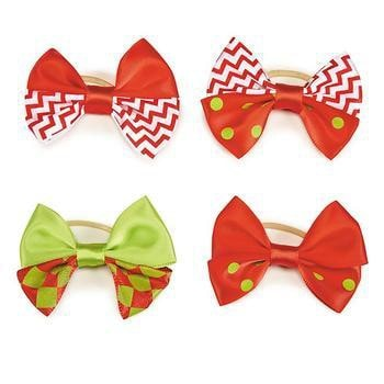 Aria Red and Green Chevron and Dot Holiday Dog Bows