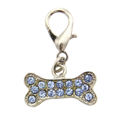 Basic Bone D-Ring Pet Collar Charm by FouFou Dog - Blue-foufou Dog-High Society Canine