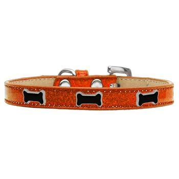 Black Bone Widget Dog Collar - Orange Ice Cream-Mirage-High Society Canine
