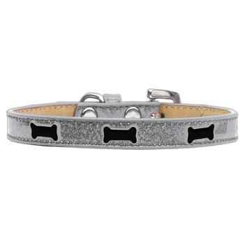 Black Bone Widget Dog Collar - Silver-Mirage-High Society Canine