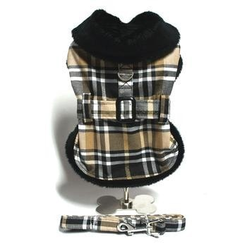 Clearance - Brown Plaid Classic Dog Coat Harness with Matching Leash-High Society Canine-High Society Canine