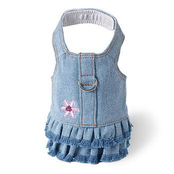 Blue Jean Denim Flower Dress Harness by Doggles