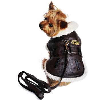Brown and Black Faux Leather Bomber Dog Coat Harness and Leash by Doggie Design-Doggie Design-High Society Canine