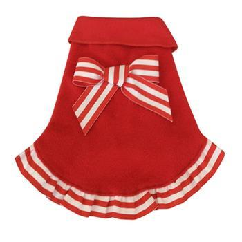 Candy Cane Ruffled Dog Pullover - Red