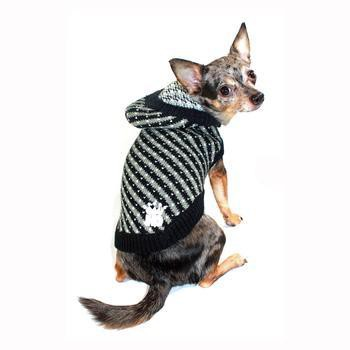 Candy Striped Hooded Dog Sweater by Hip Doggie - Black-Hip Doggie-High Society Canine