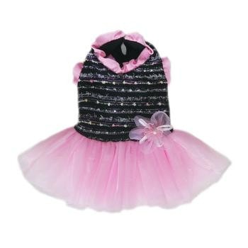 Caroline Party Dog Dress - Black and Pink-Pooch Outfitters-High Society Canine