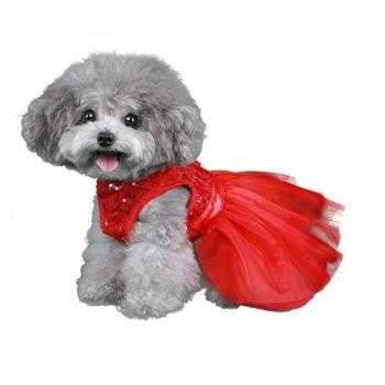 Cassandra Party Dog Dress - Red-Pooch Outfitters-High Society Canine