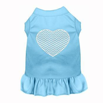 Chevron Heart Screen Print Dog Dress - Baby Blue-Mirage-High Society Canine