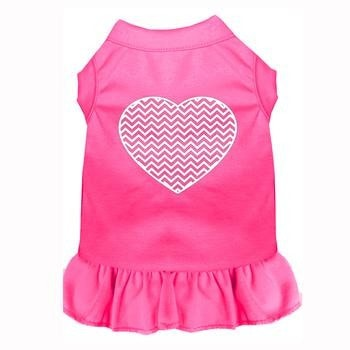 Chevron Heart Screen Print Dog Dress - Bright Pink-Mirage-High Society Canine