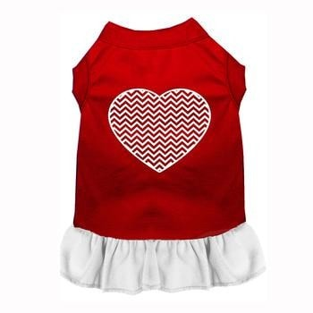 Chevron Heart Screenprint Dog Dress - Red with a White Skirt-Mirage-High Society Canine