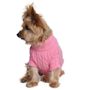 Cable Knit Dog Sweater by Doggie Design - Candy Pink-Doggie Design-High Society Canine