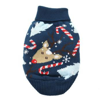 Reindeer Combed Cotton Ugly Holiday Dog Sweater by Doggie Design