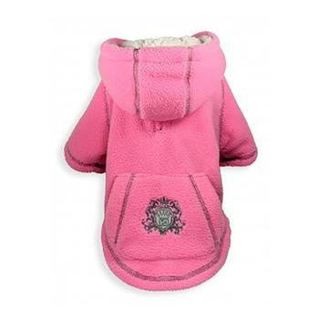 Crest Fleece Dog Hoodie by Hip Doggie - Pink-Hip Doggie-High Society Canine