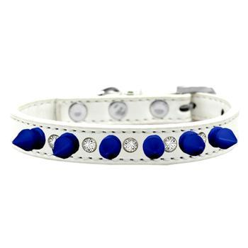 Crystals and Blue Spikes Dog Collar - White-Mirage-High Society Canine