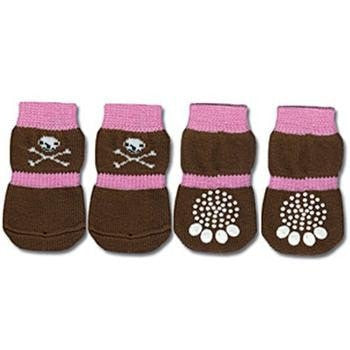 Doggy Socks - Pink & Brown Skull-Doggy Style Design-High Society Canine