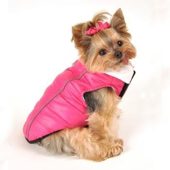 Featherlite Reversible-Reflective Puffer Vest by Hig Doggie - Pink/White